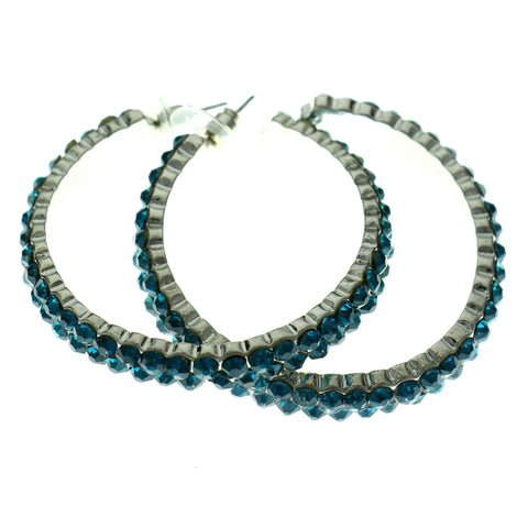 Silver-Tone & Blue Colored Metal Crystal-Hoop-Earrings With Crystal Accents #415
