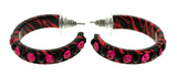 Pink & Black Colored Metal Crystal-Hoop-Earrings With Crystal Accents #416