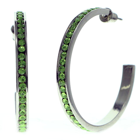 Silver-Tone & Green Colored Metal Crystal-Hoop-Earrings With Crystal Accents #417