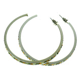 Silver-Tone & Multi Colored Metal Crystal-Hoop-Earrings With Crystal Accents #418