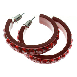 Red Metal Crystal-Hoop-Earrings With Crystal Accents #322