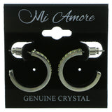 Silver-Tone & Yellow Colored Metal Crystal-Hoop-Earrings With Crystal Accents #426