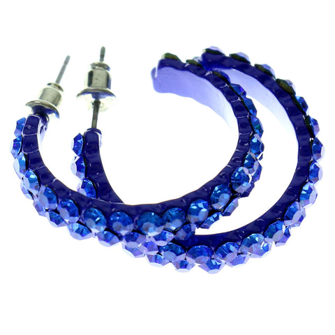 Blue Metal Crystal-Hoop-Earrings With Crystal Accents #427