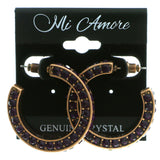 Bronze-Tone & Purple Colored Metal Crystal-Hoop-Earrings With Crystal Accents #430