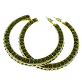 Gold-Tone & Green Colored Metal Crystal-Hoop-Earrings With Crystal Accents #431