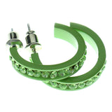 Green Metal Crystal-Hoop-Earrings With Crystal Accents #323