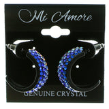 Black & Multi Colored Metal Crystal-Hoop-Earrings With Crystal Accents #436