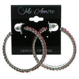 Silver-Tone & Pink Colored Metal Hoop-Earrings With Crystal Accents #439