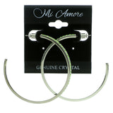 Silver-Tone & Green Colored Metal Crystal-Hoop-Earrings With Crystal Accents #441