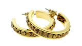 Gold-Tone & Yellow Colored Metal Crystal-Hoop-Earrings With Crystal Accents #324
