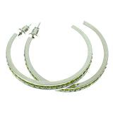 Silver-Tone & Green Colored Metal Crystal-Hoop-Earrings With Crystal Accents #443