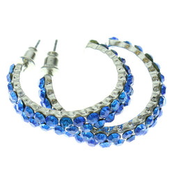 Silver-Tone & Blue Colored Metal Hoop-Earrings With Crystal Accents #444