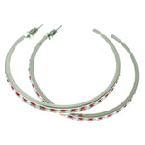 Silver-Tone & Multi Colored Metal Hoop-Earrings With Crystal Accents #446