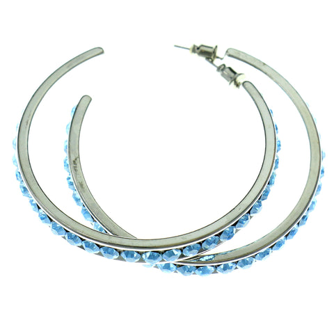 Silver-Tone & Blue Colored Metal Crystal-Hoop-Earrings With Crystal Accents #449