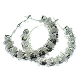 Silver-Tone & Gray Colored Metal Crystal-Hoop-Earrings With Crystal Accents #450
