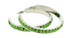 Silver-Tone & Green Colored Metal Crystal-Hoop-Earrings With Crystal Accents #459