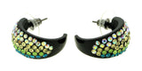 Black & Multi Colored Metal Crystal-Hoop-Earrings With Crystal Accents #460