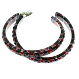 Black & Red Colored Metal Crystal-Hoop-Earrings With Crystal Accents #461