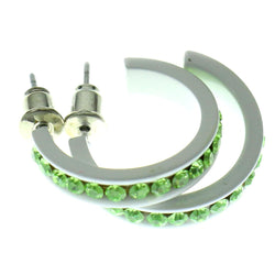 White & Green Colored Metal Crystal-Hoop-Earrings With Crystal Accents #468