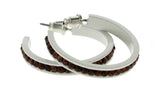 White & Brown Colored Metal Crystal-Hoop-Earrings With Crystal Accents #471