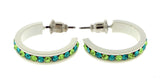 White & Multi Colored Metal Crystal-Hoop-Earrings With Crystal Accents #473