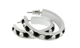White & Black Colored Metal Crystal-Hoop-Earrings With Crystal Accents #475