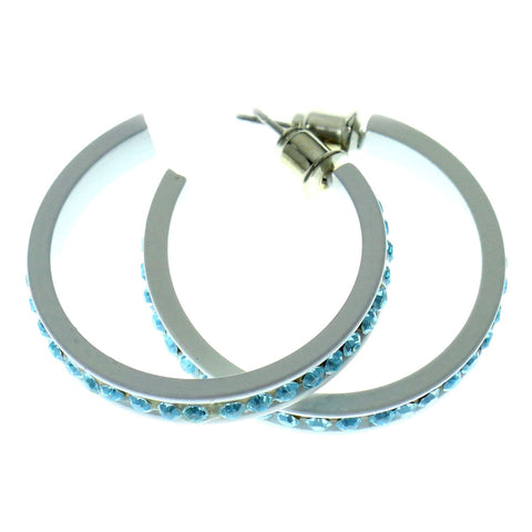 White & Blue Colored Metal Crystal-Hoop-Earrings With Crystal Accents #477