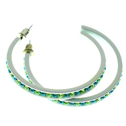 White & Multi Colored Metal Crystal-Hoop-Earrings With Crystal Accents #479