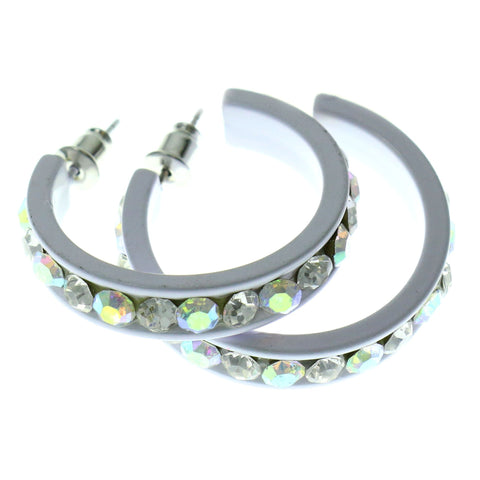 Colorful  AB Finish Crystal-Hoop-Earrings With Crystal Accents #484