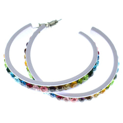 White & Multi Colored Metal Crystal-Hoop-Earrings With Crystal Accents #490