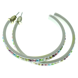 White & Multi Colored Metal Crystal-Hoop-Earrings With Crystal Accents #495