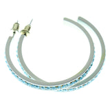 White & Blue Colored Metal Crystal-Hoop-Earrings With Crystal Accents #498