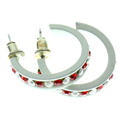 White & Red Colored Metal Crystal-Hoop-Earrings With Crystal Accents #501