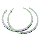 White & Purple Colored Metal Crystal-Hoop-Earrings With Crystal Accents #502