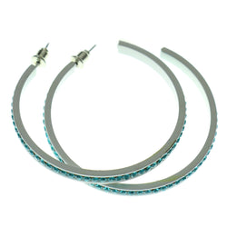 White & Blue Colored Metal Crystal-Hoop-Earrings With Crystal Accents #503