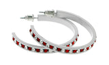 White & Red Colored Metal Crystal-Hoop-Earrings With Crystal Accents #504