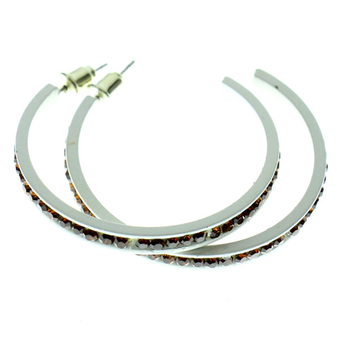 White & Brown Colored Metal Crystal-Hoop-Earrings With Crystal Accents #505
