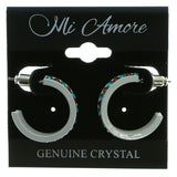 White & Multi Colored Metal Crystal-Hoop-Earrings With Crystal Accents #507