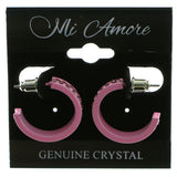Pink Metal Crystal-Hoop-Earrings With Crystal Accents #508
