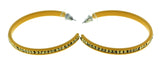 Yellow Metal Crystal-Hoop-Earrings With Crystal Accents #331