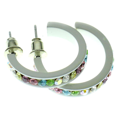 White & Multi Colored Metal Crystal-Hoop-Earrings With Crystal Accents #512