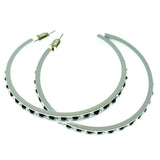 White & Black Colored Metal Crystal-Hoop-Earrings With Crystal Accents #514