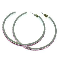 White & Pink Colored Metal Crystal-Hoop-Earrings With Crystal Accents #515