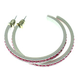 White & Pink Colored Metal Crystal-Hoop-Earrings With Crystal Accents #517