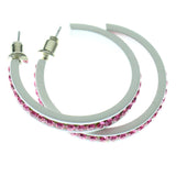 White & Pink Colored Metal Crystal-Hoop-Earrings With Crystal Accents #519