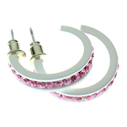White & Pink Colored Metal Crystal-Hoop-Earrings With Crystal Accents #521
