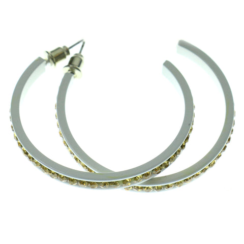 White & Yellow Colored Metal Crystal-Hoop-Earrings With Crystal Accents #524