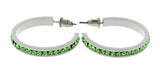 White & Green Colored Metal Crystal-Hoop-Earrings With Crystal Accents #529