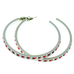 White & Red Colored Metal Crystal-Hoop-Earrings With Crystal Accents #531