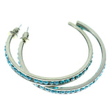 Silver-Tone & Blue Colored Metal Crystal-Hoop-Earrings With Crystal Accents #334